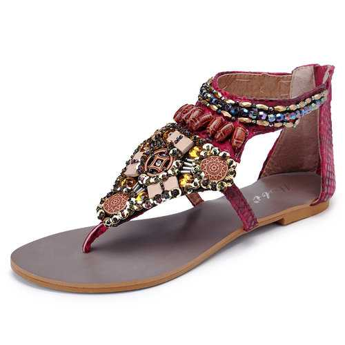 Beaded Gladiator Bohemia Clip Toe Zipper Flat Sandals