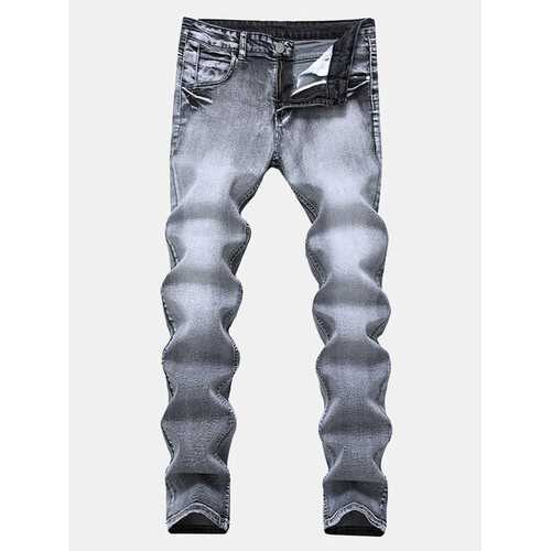 Elastic Straight Casual Washed Slim Jeans