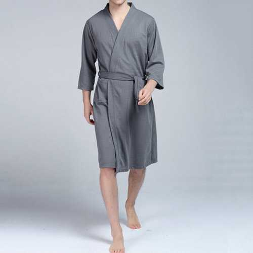 Home Soft Drawstring Pockets Bathrobes Sleep Robes