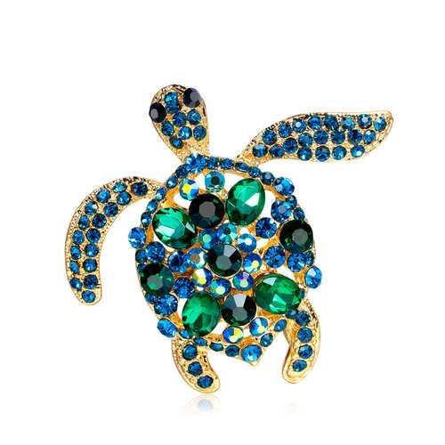 Cute Rhinestone Turtle Brooch