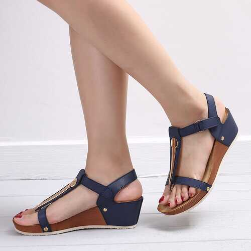 T Strap Hook Loop Wedges Heels Sandals