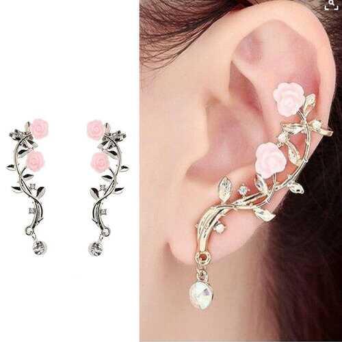 Pink Flower Cuff Earrings