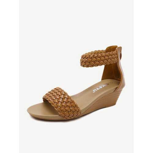 Casual Weave Zipper Wedges Heel Sandals