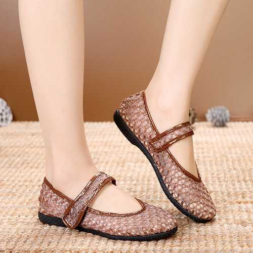 Soft Breathable Mesh Hook Loop Flats