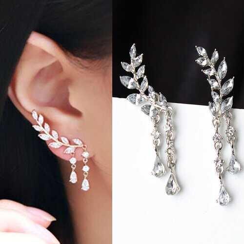 Elegant Leaf Rhinestone Cuff Earrings