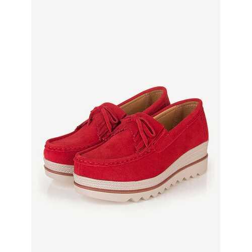 Moccasins Suede Tassel Flat Platform Sneakers