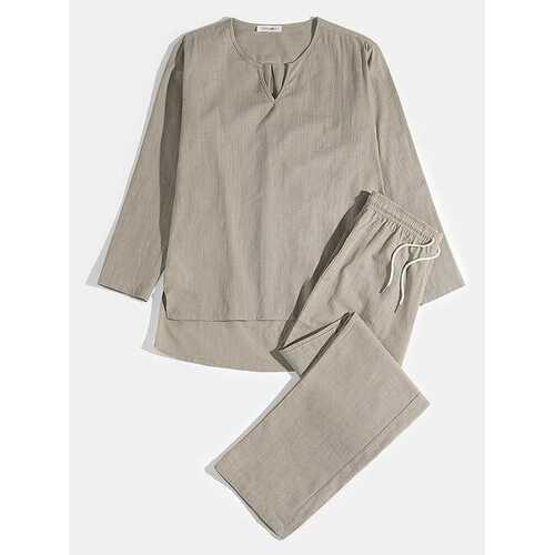 Plus Size 100%Cotton Two Pieces Yoga Pajamas