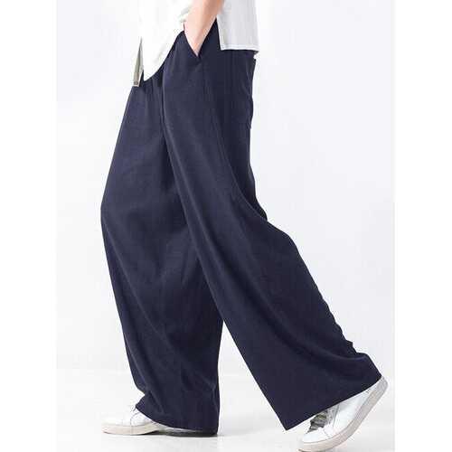 Baggy Style Elastic Waist Wide Leg Pants