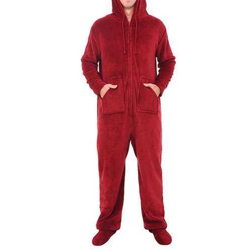 Coral Velvet Onesie Hooded Pajamas