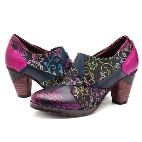 Retro Splicing Flowers Pattern Pumps