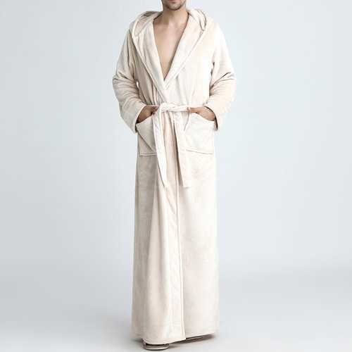 Flannel Pajamas Ankle-Length Hooded Robe