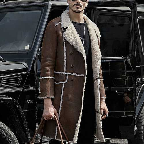 Fax Leather Long Sheepskin Suede Coat Shearling Overcoat