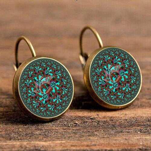 Bohemian Green Flower Earrings