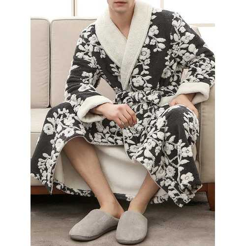 Knitting Thicken Flannel Floral Pajamas