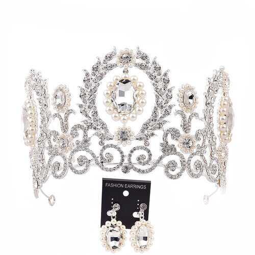 Baroque Crown Tiara Earrings Jewelry Set