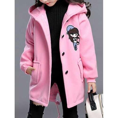 Girl's Hooded Wool Blend Coat Cartoon Pattern Kids Coat