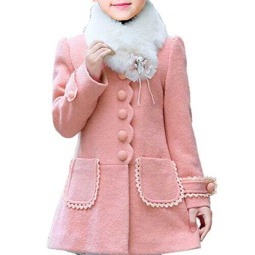 Detachable Collar Cute Thick Overcoat