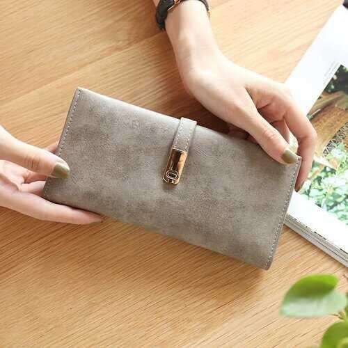 Women PU Leather Multi-slots Long Wallet Card Holder Purse