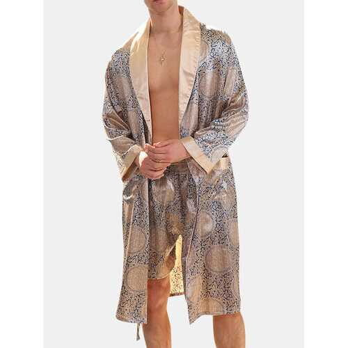 Geometric Faux Silk Pajamas Robe