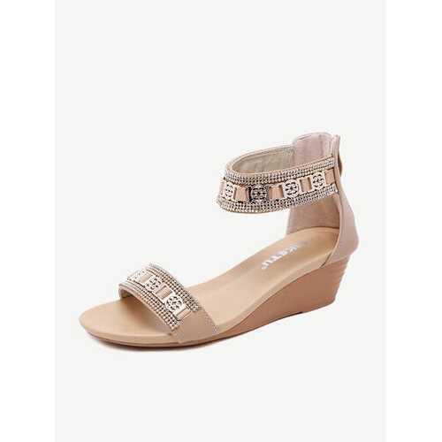 Soft Bling Rhinestone Zip Sandals