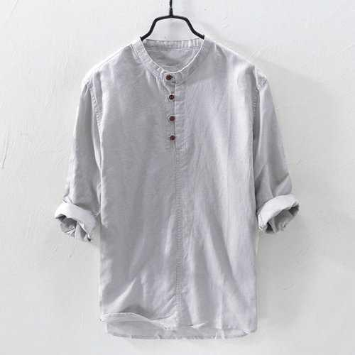 Cotton Brief Three Quarter Sleeve Henry Collar T shirt