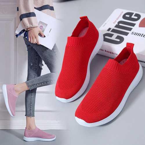 Air Mesh Knit Slip On Sneakers