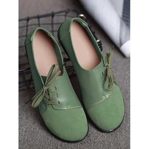 Casual Soft Splicing Leather Flats Shoes