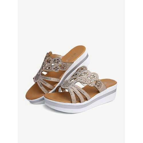 Rhinestone Wedge Heel Platform Sandals