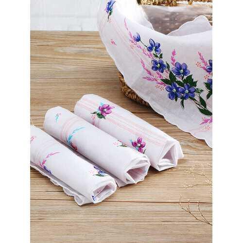 <US Instock>10Pcs Handkerchief Pure Cotton Vintage Ladies Women Printing Pocket Floral Flowers Quadrate Hanky