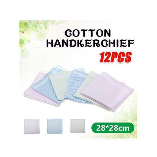 <US Instock>12Pcs Handkerchief Cotton Vintage Ladies Women Pocket Floral Flowers Quadrate Hanky