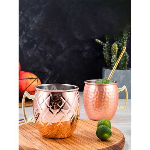 530ml 18oz Coffee Mug Cocktail Copper Cup Cup Drinking Hammered Copper Brass Steel Cup