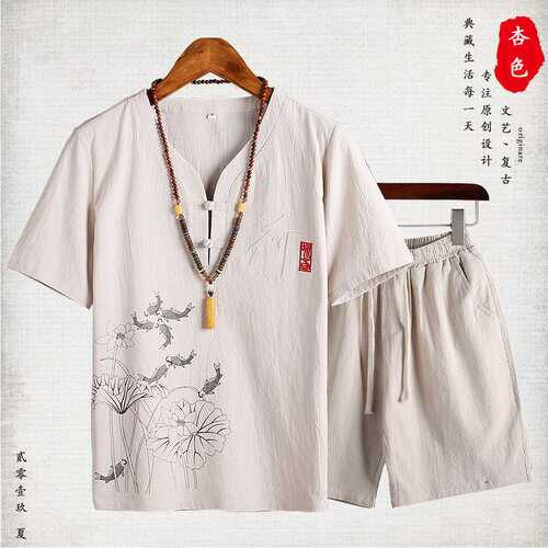 casual suit Chinese style men's clothing Buddha cotton short-sleeved t-shirt v-neck shorts suit Tang suit