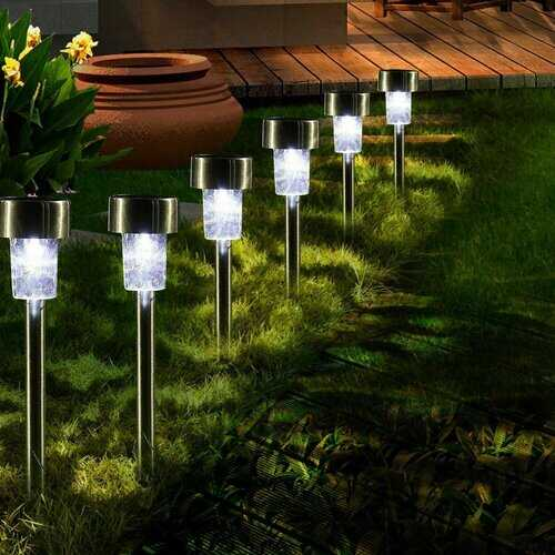 16pcs LED Solar Stainless Steel Lawn Lamps Garden Outdoor
