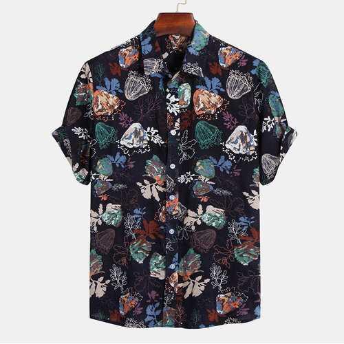 100% Cotton Floral Printing Loose Shirt