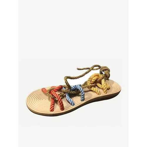 Strappy Lace Up Flat Sandals