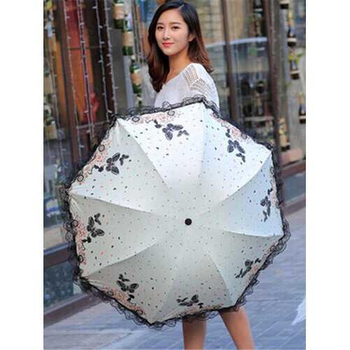 Fragrant Car Beauty Butterfly Flying Anti-UV Sun Umbrella Folding Black Plastic Sun Umbrella