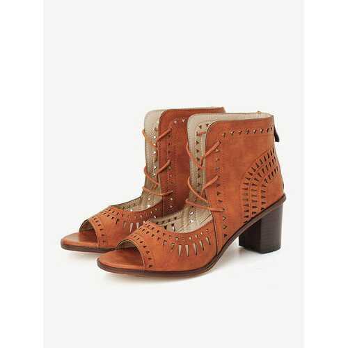 Hollow Chunky Heel Sandals