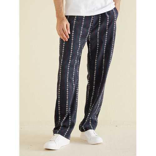 Mens Ethnic Stripe Corduroy Pants