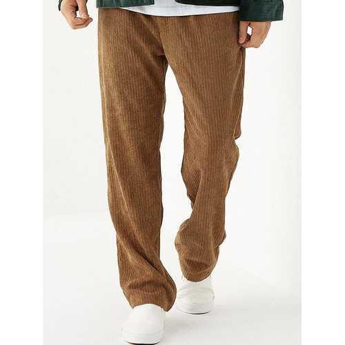 Mens Plain Pleated Corduroy Pants