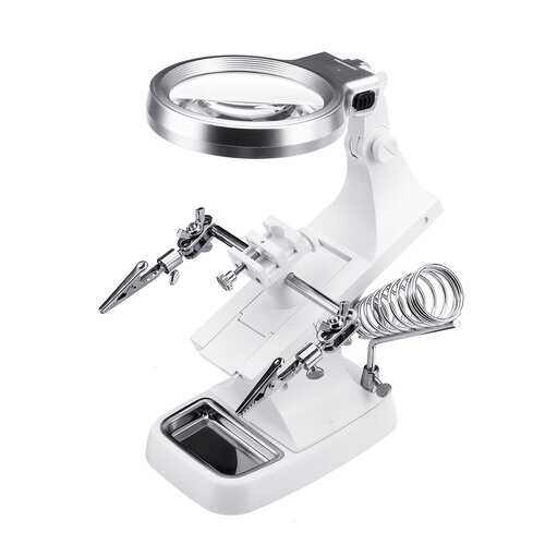 10 LED Helping Hand Clamp Magnifying Tool