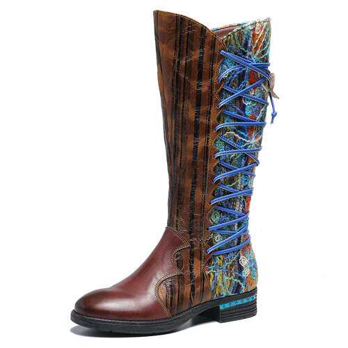 Bark Pattern Soft Mid Calf Boots