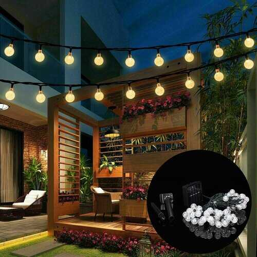 9.5M 50 LED Solar Fairy Bulb String Light 8 Modes Outdoor