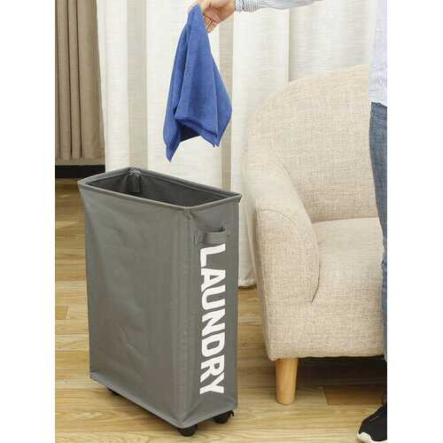 <US Instock> Rolling Slim Laundry Hamper Dirty Clothes Bin Storage Basket Organizer Sorter Bedroom Bathroom