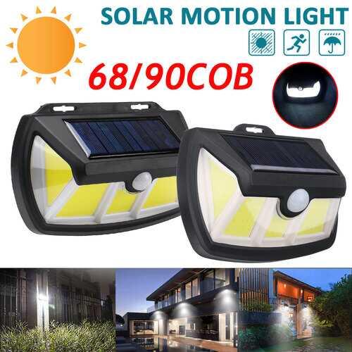 69/90LED Solar Power PIR Motion Sensor Wall Light Waterproof