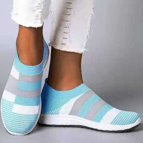 Splicing Knit Elastic Flat Sneakers