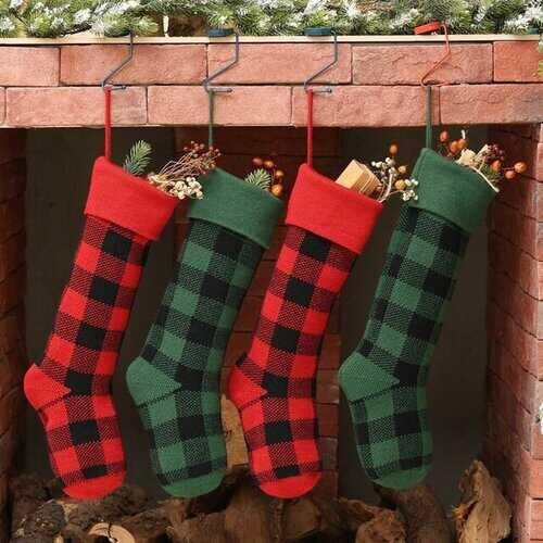 Woolen Wall Decoration Christmas Decoration Gift Plaid Socks