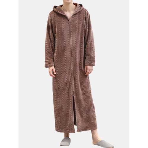 Flannel Zipper Hooded Pajamas Robe