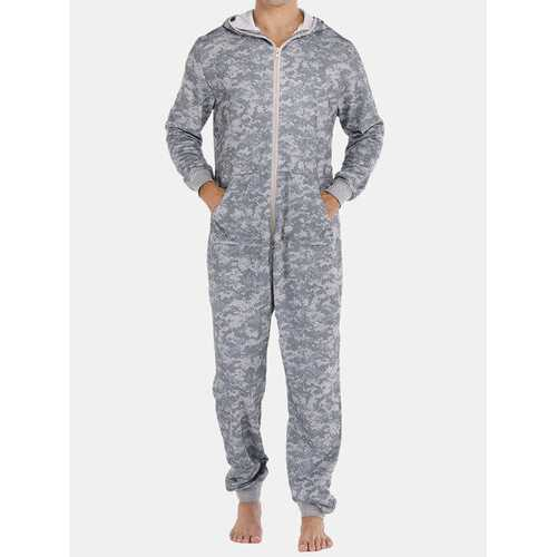 Gray Camo Thicken Hooded Jumpsuit