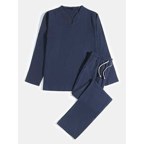 Linen Plain Pajamas Set