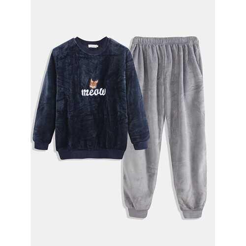 Flannel Thicken Cat Print Pajamas Set